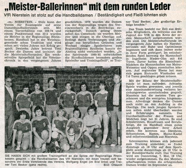 VfR Handball Damen werden Rheinhessen-Meister - Zeitungsartikel