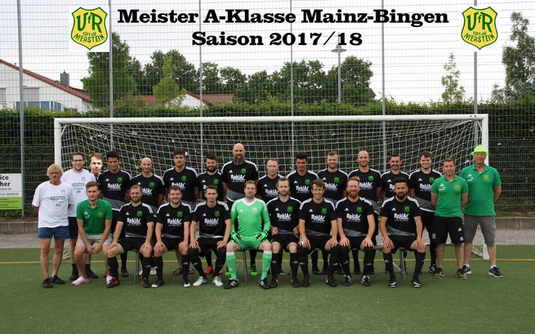 Fußballer des VfR Nierstein 1911 e.V. werden Meister der A-Klasse Mainz Bingen